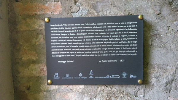la posa della targa dedicata all'Abate Barbieri, sancisce l'ingresso di Torreglia nel nostro Parco Letterario